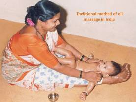 Traditional Method of oil massage in India