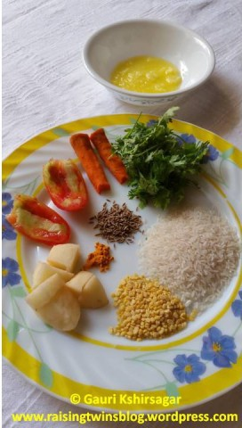 Ingredients for Rice-Dal Khichdi