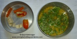 Rice-Dal & vegetables in separators