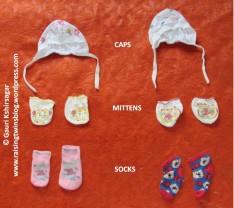 Baby Clothes: caps, mitten, socks