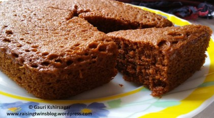 Wheat Jaggery Cake (without maida or sugar)