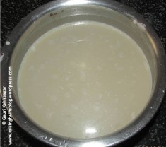 Mixture of milk, ragi, jaggery, water and dry fruits