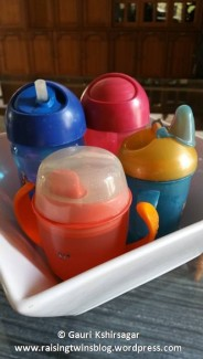 Different coloured and shapes bottles make drinking water fun for toddlers